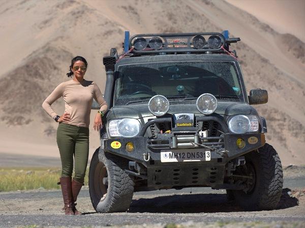 Gul Panag with her Mahindra Scorpio Getaway