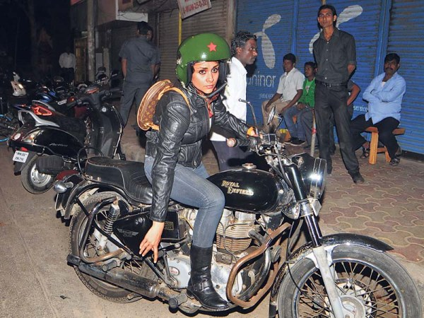 Gul Panag with her Royal Enfield Bullet Electra 350 CI