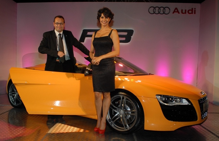 Gul Panag with the Audi R8 Spyder