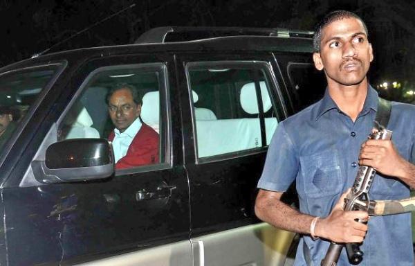 K Chandrashekar Rao in a Mahindra Scorpio