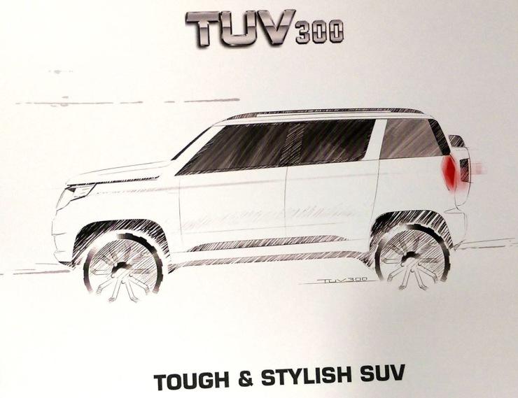 Mahindra TUV300 Compact SUV Sketch 2