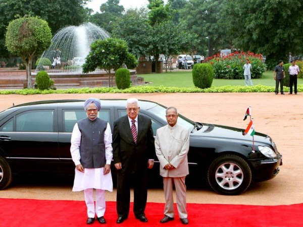 Pranab Mukherjee with the Mercedes Benz S-Class Limousine