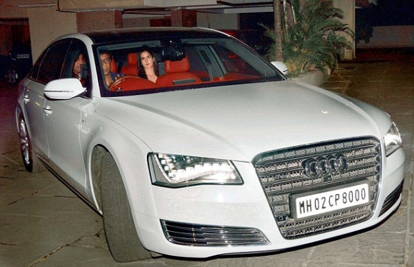 Ranbir Kapoor and Katrina Kaif in the former's Audi A8 L