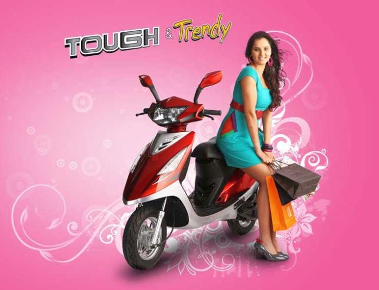 Sania Mirza with the TVS Scooty Streak