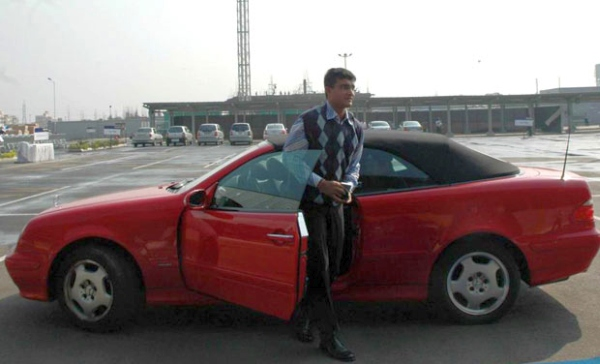 Saurav Ganguly with his Mercedes Benz CLS