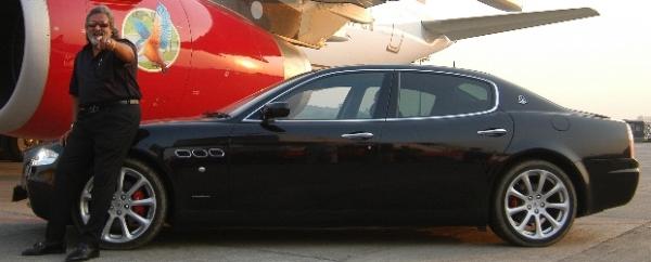 Vijay Mallya with his Maserati Quattroporte