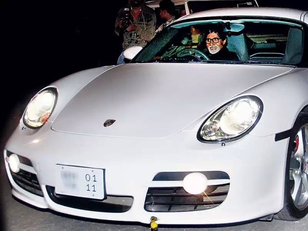 amitabh bachchan in a Porsche Cayman