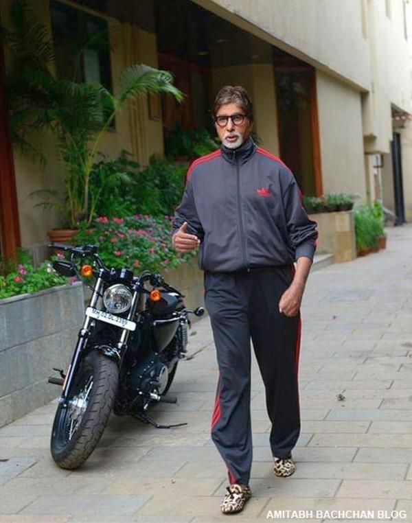 Amitabh Bachchan with son Abhishek's Harley Davidson Sportster 1200