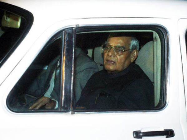 Atal Behari Vajpayee in his Hindustan Ambassador