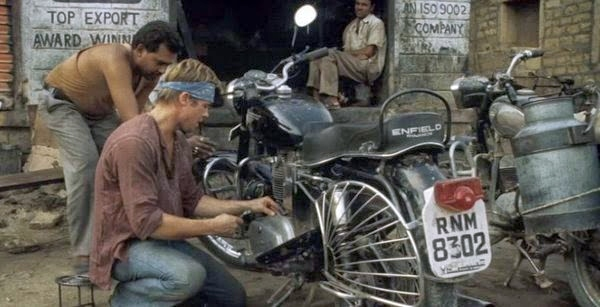 Brad Pitt with a Royal Enfield Std 350 in the Curious Case of Benjamin Button