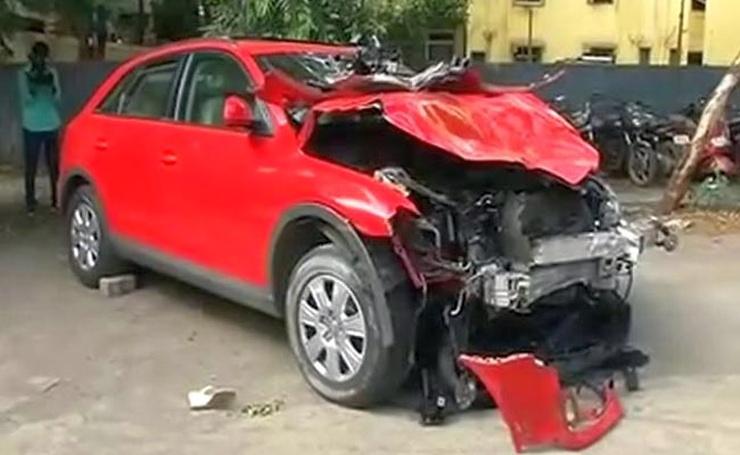 Janhavi Gadkar's Audi Q3 after the accident