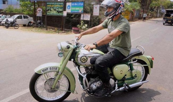 MS Dhoni on his BSA Goldstar