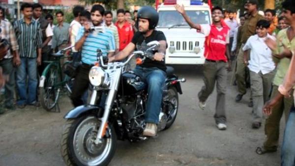 MS Dhoni on his Harley Davidson Fat boy