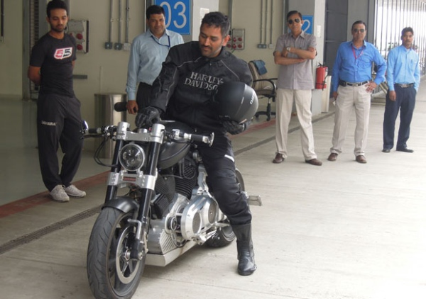 MS Dhoni with his Confederate X132 Muscle Bike