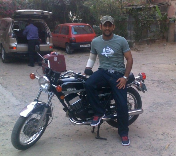 MS Dhoni with his Yamaha RD350