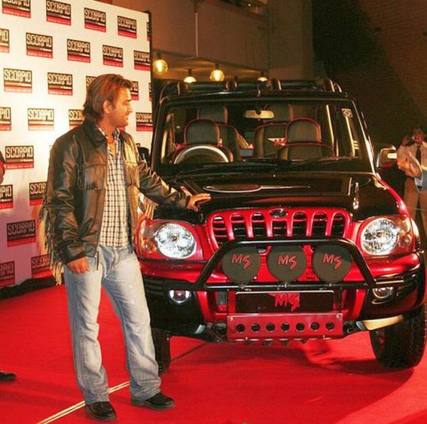 MS Dhoni with the Mahindra Scorpio