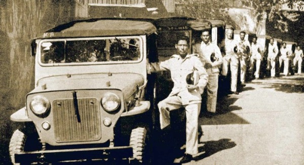 Mahindra Jeeps rolling out of the Mazagaon factory in 1954