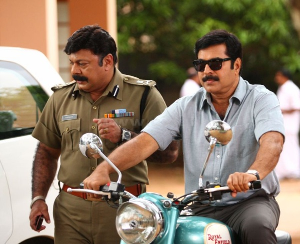 Mammooty riding a Royal Enfield Classic 500 in August 15th