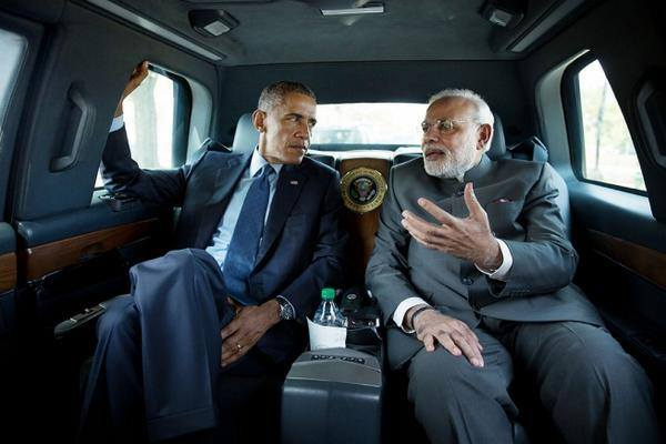 Narendra Modi with Barack Obama in the Cadillac One