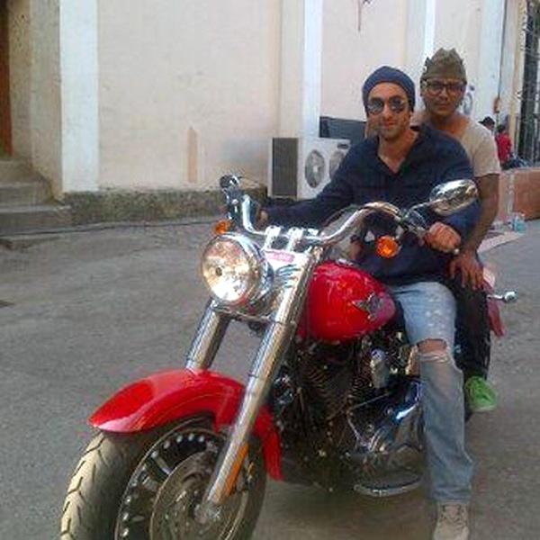Ranbir Kapoor on a Harley Davidson FatBoy