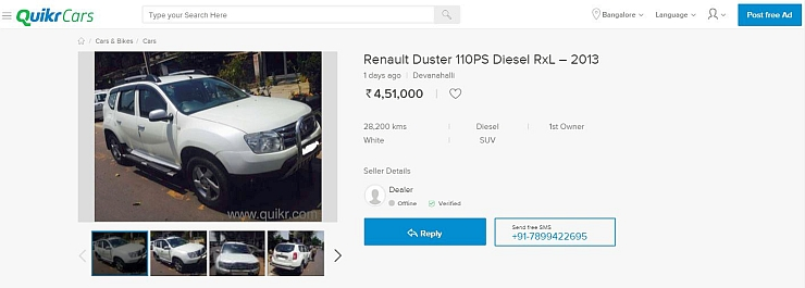Renault Duster Deal on Quikr