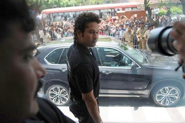 Sachin Tendulkar with his BMW X5