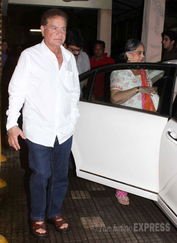 Salma Khan with Salim Khan and his Mercedes Benz S-Class