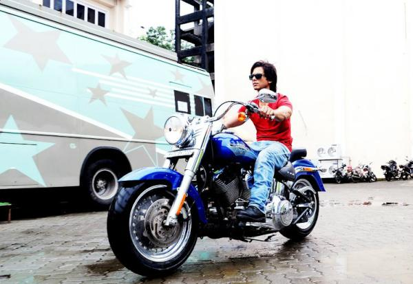 Shahid Kapoor on his Harley Davidson Fatboy