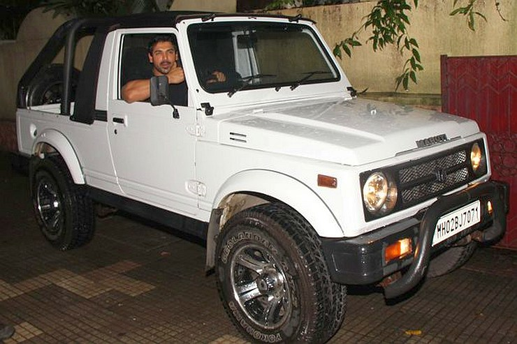 John Abraham in his Maruti Gypsy