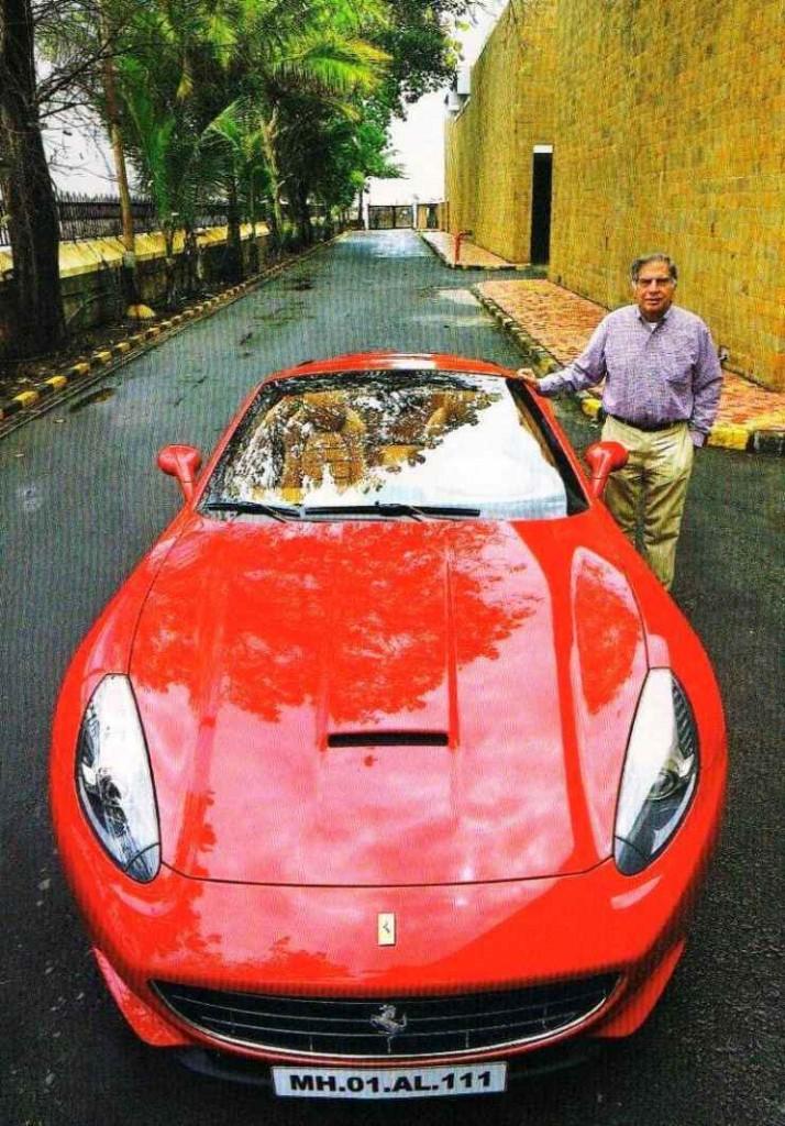Ratan Tata with his Ferrari California