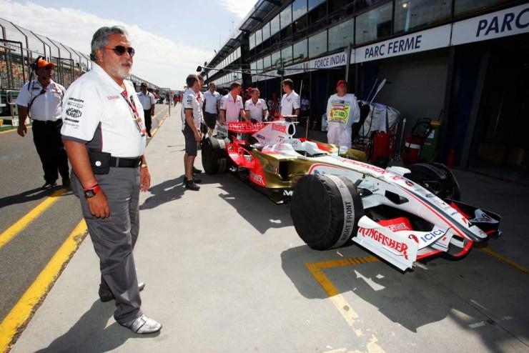 Vijay Mallya with his Force One F1 race car