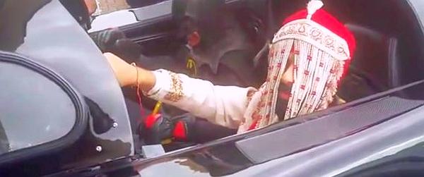 Sikh groom in a BatMobile