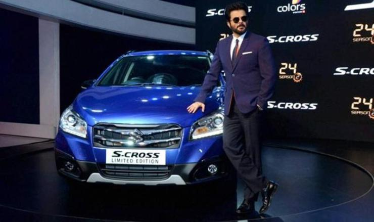 Anil Kapoor with the Maruti S-Cross at the Auto Expo