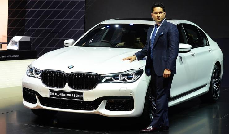 Sachin Tendulkar with the BMW 7-Series