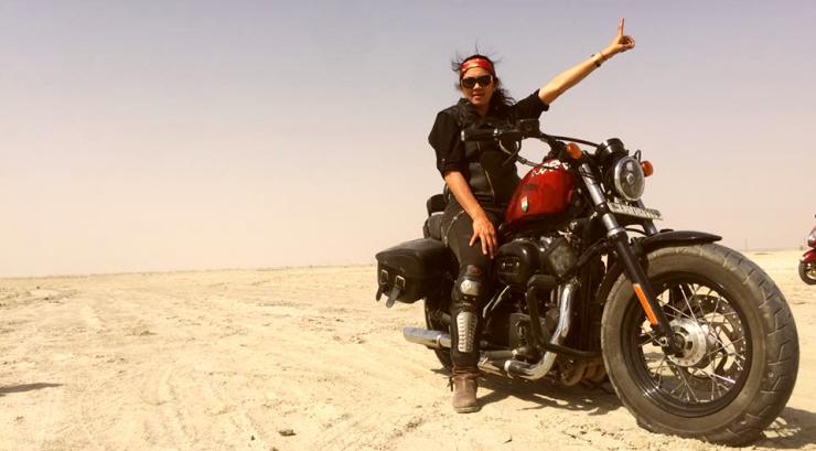 Veenu Paliwal on a Harley Davidson Sportster