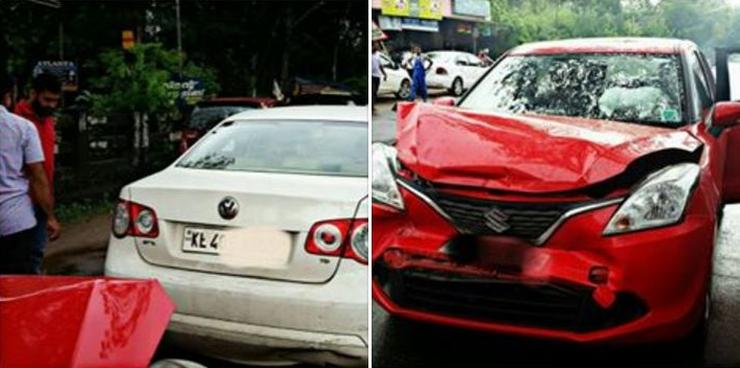 Maruti Baleno crashes into rear of VW Jetta: This is the result