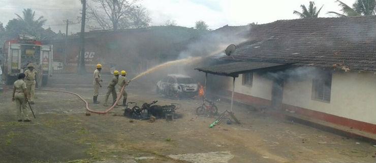 madikeri house set on fire