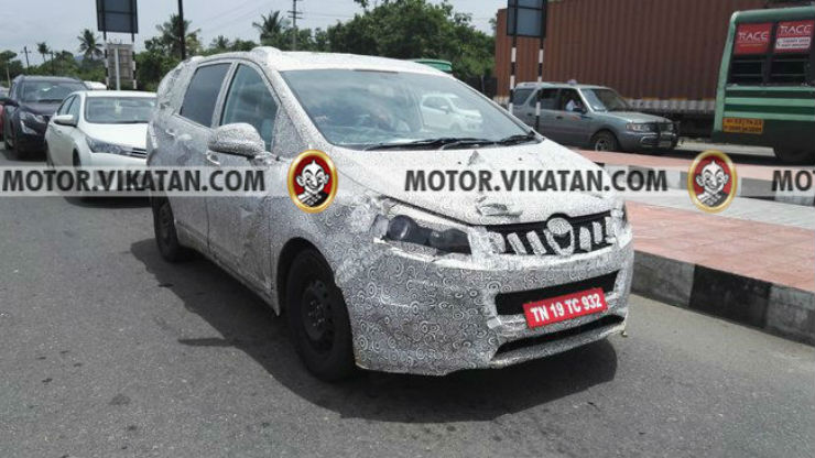 Mahindra-MPV-Toyota-Innova-rival-front-spied-testing-in-Chennai