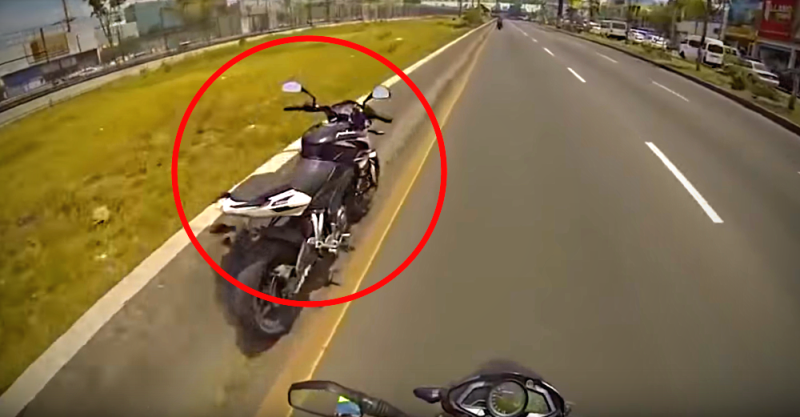 Pulsar NS200 continues riding on its own after stunt goes wrong