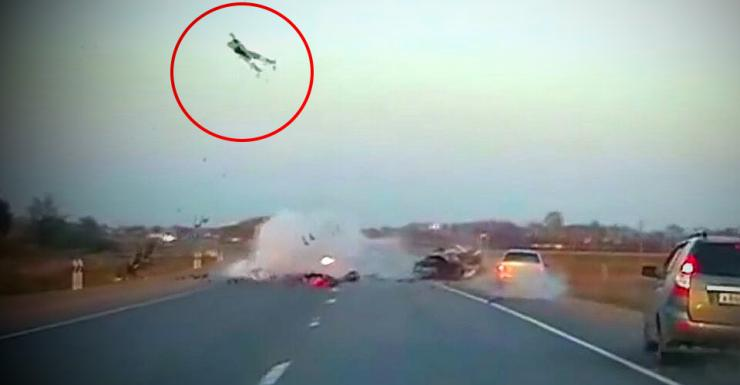 Wrong way speeding by superbikers causes EXPLOSIVE crash