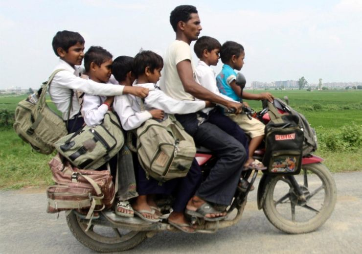 Oveerloaded motorcycle in India