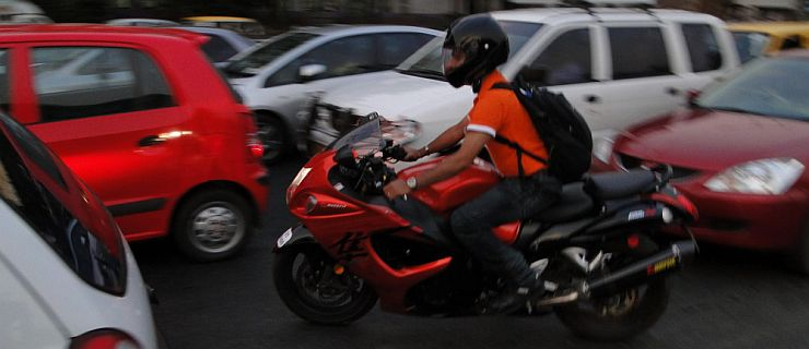 Superbike in Indian traffic