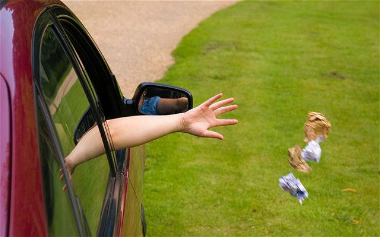 Thrash outside car