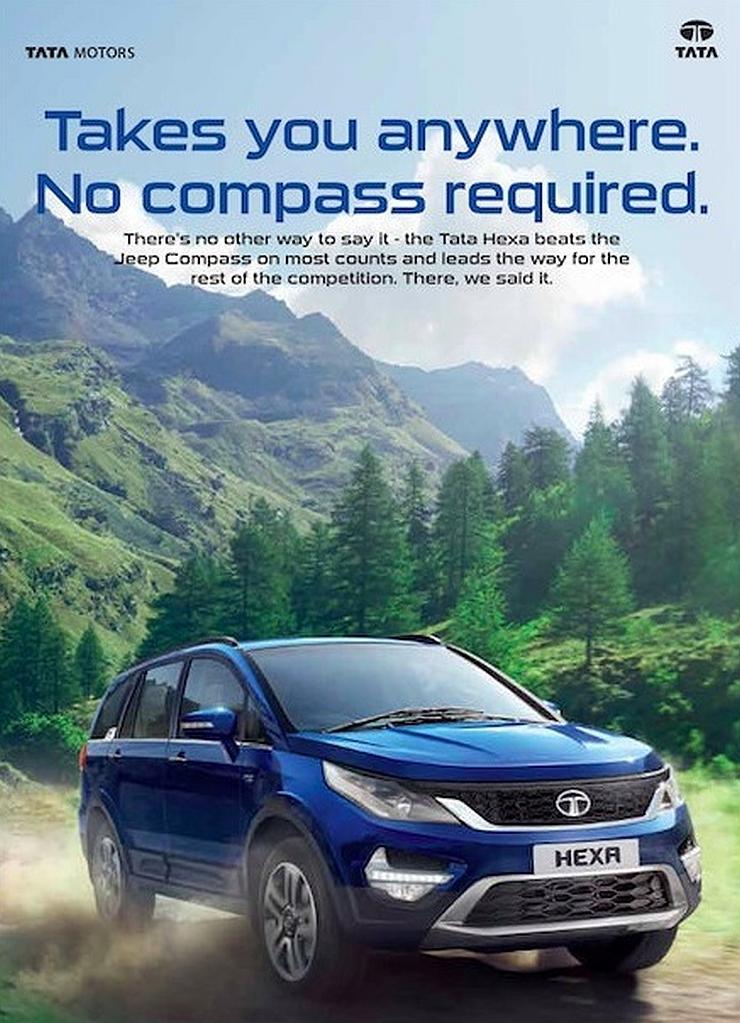 Tata Hexa Jeep Compass Bait Ad