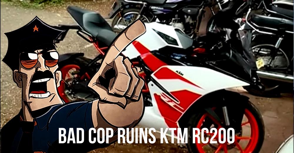 Police officer puts salt in KTM RC 200 fuel tank, now suspended!
