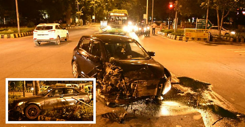 Mercedes-Benz rams into Maruti Swift while escaping from police