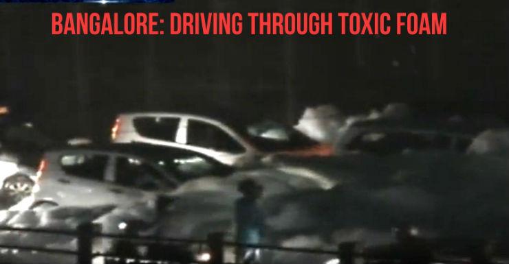 Bangalore: Cars almost vanish in toxic foam
