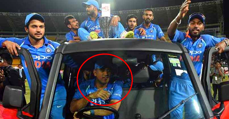 MS Dhoni drives 11 players of Indian cricket team in Bumrah's 'unconventional' trophy car