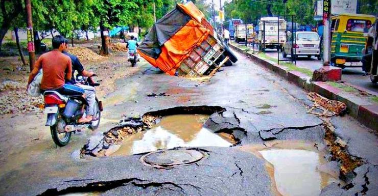 Potholes in India