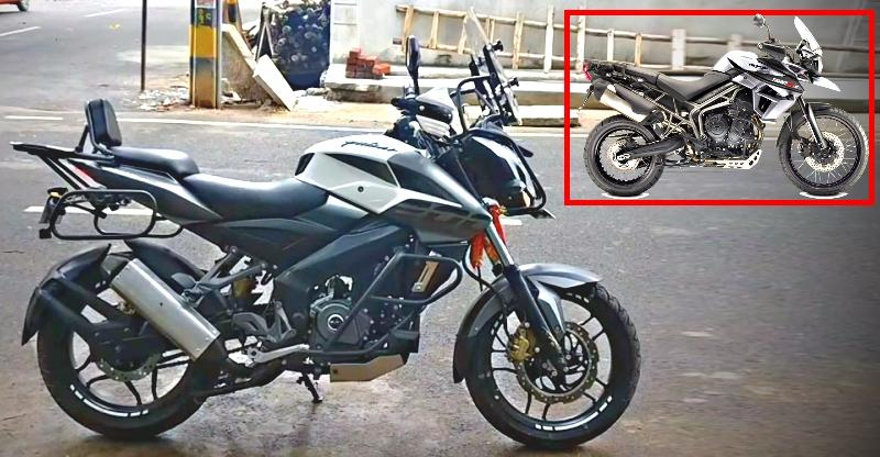 bajaj pulsar 200 ns converted to look like the triumph tiger 800